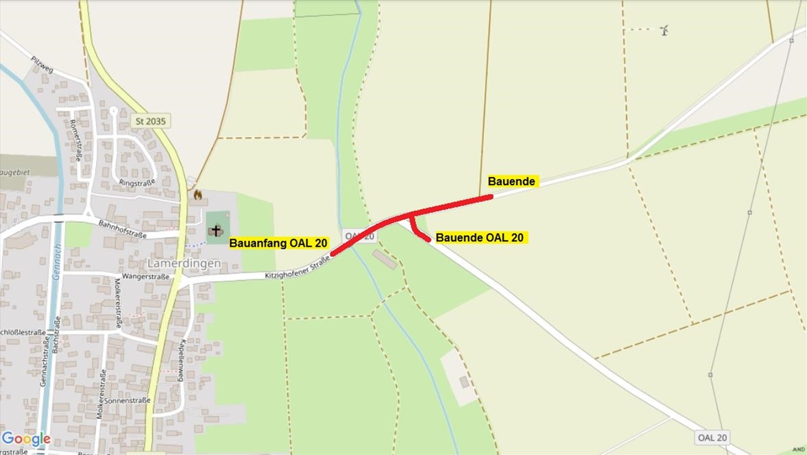 OAL 20 Kreuzungsbereich östlich Lamerdingen
